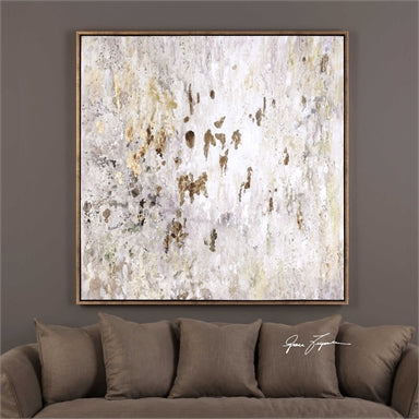 earth tone colors are used in this hand painted artwork on canvas featuring vivid gold leaf accents
