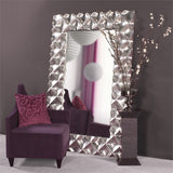 Sculpted Silver Modern Leaner Mirror, contemporary leaner mirror, silver leaner mirror