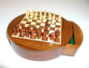 "6"" Round Drawer Magnetic Chess"
