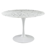 Evolution Dining Table, marble top with classic pedestal design, mid century