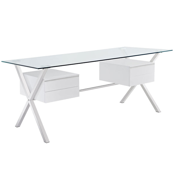 Modern Desk, Glass Top, Polished Stainless Base