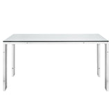 Stainless Steel Dining Table with Glass Top