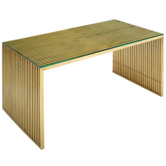 Sleek and modern the Apollo desk is truly modern.  The gold finish metal is modern and fresh.  The simple design is eye-catching and stylish. Perfect for the modern office area.  Pairs well with the Apollo Bench