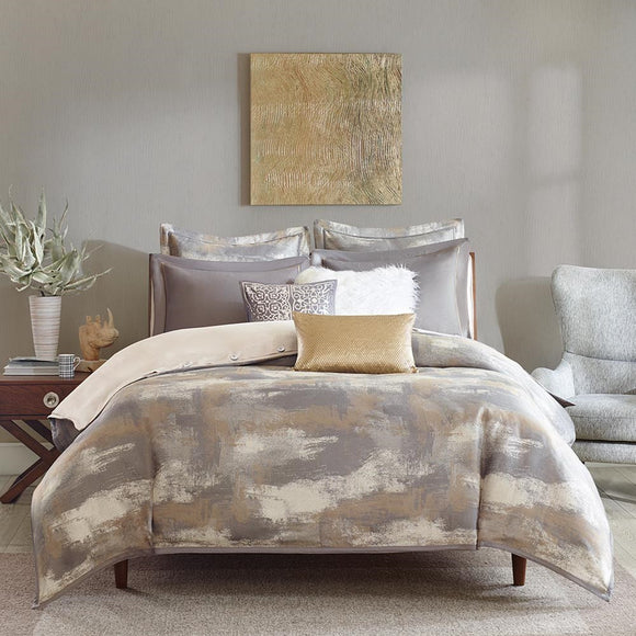 Grey and Cream Colored Bedding Ensemble with faux fur, faux leather, and sequin  decorative pillows
