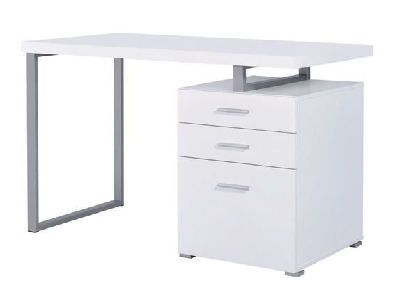Astute White Desk with Storage