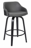 The Alex Barstool BarHeight 30' Black Brush Wood