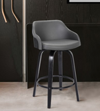 The Alex Barstool 26' Counter Height  Black Brushed Wood