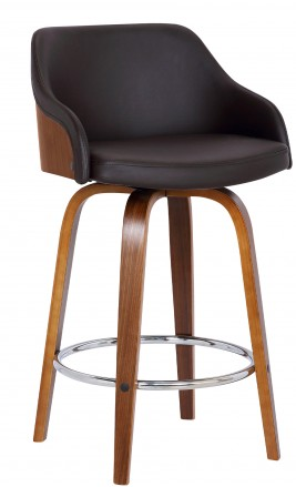 The Alex Barstool 26' Counter Height  Walnut Wood Finish