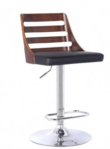 Stan Barstool in Chrome finish with Walnut wood and Black Faux Leather