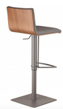 Catherine Adjustable Gray Metal Barstool in Gray Pu with Walnut Back