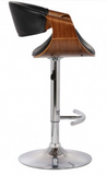 Scoops Adjustable Swivel Barstool in Gray Faux Leather with Chrome Finish and Walnut Wood