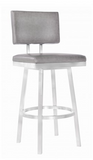 "Bebe 26"" Counter Height Barstool in Brushed Stainless Steel and Vintage Grey Faux Leather"