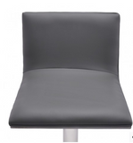 Chris Adjustable Swivel Barstool in Gray Faux Leather with Brushed Stainless Steel Finish and Gray Walnut Veneer Back