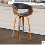 "July 26"" Mid-Century Swivel Counter Height Barstool in Brown Faux Leather with Walnut Wood"