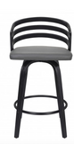 "JD Contemporary 26"" Counter Height Swivel Barstool in Black Brush Wood Finish and Grey Faux Leathe"