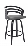 "JD  Contemporary 30"" Bar Height Swivel Barstool in Black Brush Wood Finish and Grey Faux Leather"