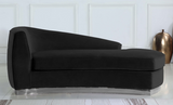 The Shell Curved Chaise Lounge Black/Silver