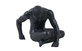 Nude Male with hands on floor in black finish