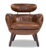 Mid Century Modern Leather Brown Chair