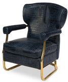 Navy Colored Leather Chair with copper colored legs