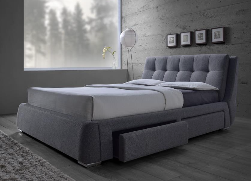 Grey Upholstered Tufted bed with storage