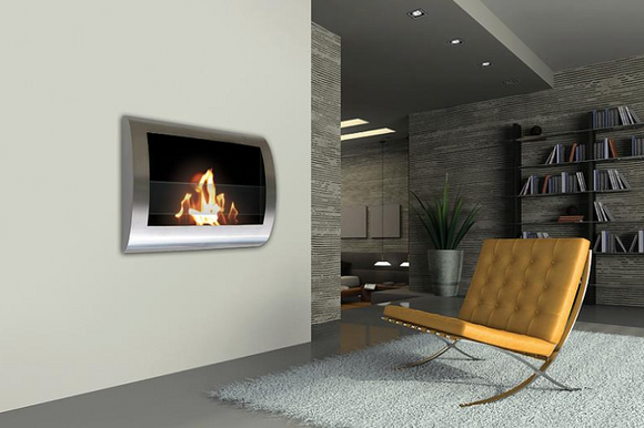Silver Wall Mount Fireplace