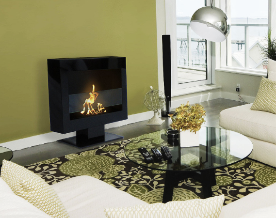Black Fireplace that can sit on the floor
