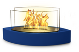Blue Contemporary Small Freestanding Fireplace