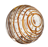Glass round wall art colored in browns, ambers, leopard, and dark brown