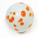 Orange and White Spotted Glass Sphere Wall Art