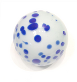 Cobalt Blue and White Spotted Glass Sphere Wall Art