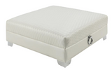 White pearl leatherette Upholstery Ottoman with doorknockers, tufting and chrome legs.