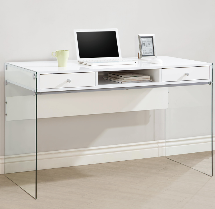 Desks Modern Glossy White Computer Desk with Glass Sides