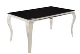 Formal Dining Table Black Glass Top and Stainless Steel legs