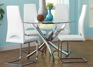 Modern  Dining table with glass top and chrome base