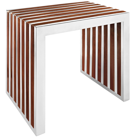 Stainless Steel and Wooden Bench