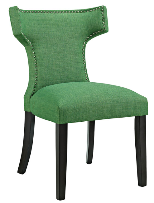 Green Upholstered Dining Chair with nailhead trim