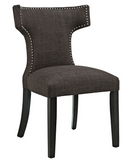 Brown Upholstered Dining Chair with nailhead trim