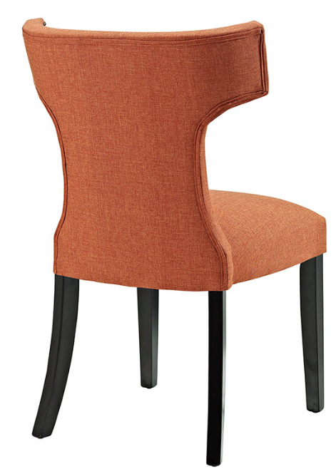 Orange Upholstered Dining Chair with nailhead trim