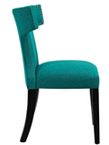 Teal Upholstered Dining Chair with nailhead trim