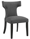 Grey Upholstered Dining Chair with nailhead trim