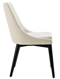 Beige Mid Century Modern Dining Chair with tapered legs