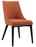 Orange Mid Century Modern Dining Chair with tapered legs