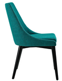 Teal Mid Century Modern Dining Chair with tapered legs