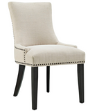 Beige Dining Side Chair with nailhead trim