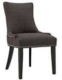 Brown Dining Side Chair with nailhead trim