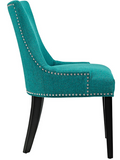 Teal Dining Side Chair with nailhead trim