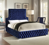 Navy Blue Deep Tufted High headboard and Low profile Bed