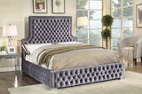 Grey Deep Tufted High headboard and Low profile Bed
