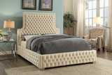 Cream Deep Tufted High headboard and Low profile Bed